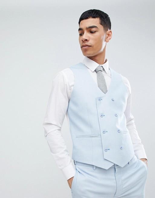 ASOS DESIGN Wedding - Gilet da abito super skinny micro testurizzato blu ghiaccio