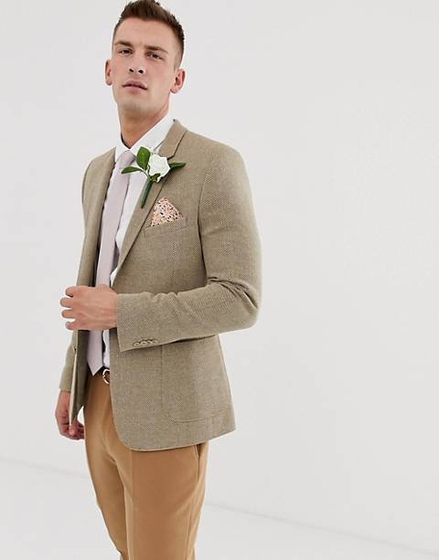 ASOS DESIGN wedding skinny blazer in beige wool mix