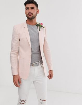 Image 1 of ASOS DESIGN wedding skinny blazer in pink linen
