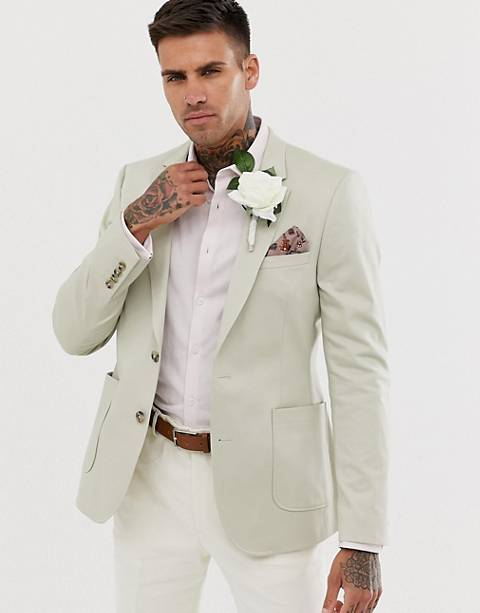 ASOS DESIGN wedding skinny blazer in stone cotton