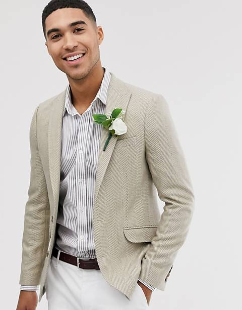 ASOS DESIGN wedding skinny blazer with wool mix wide herringbone in stone
