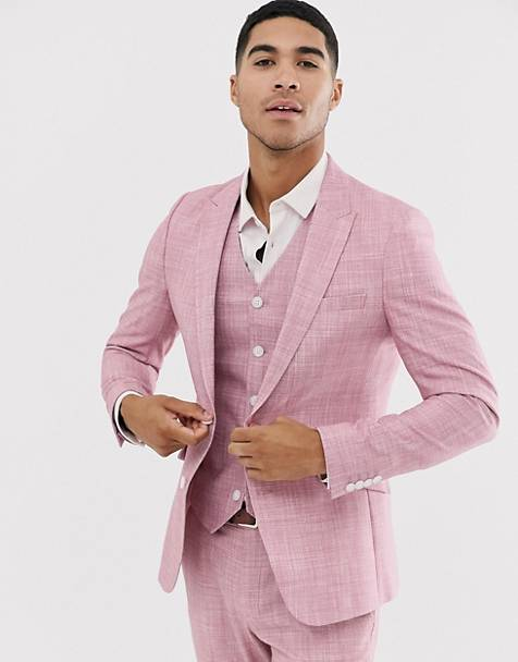 ASOS DESIGN wedding skinny suit jacket in rose pink cross hatch