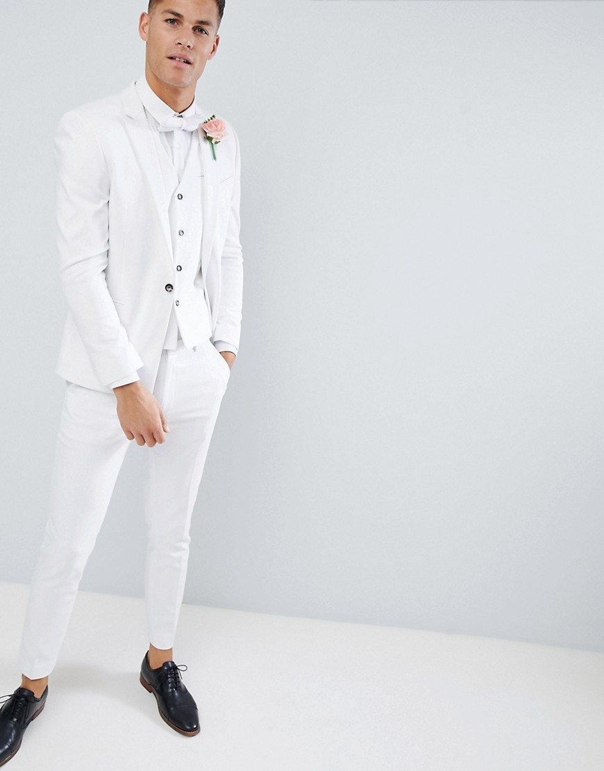 Asos Design Wedding Skinny Suit Jacket With Square Hem In White by Asos Design