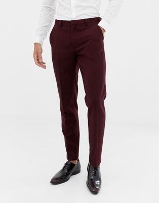 ASOS DESIGN wedding skinny suit pants in burgundy wool mix herringbone