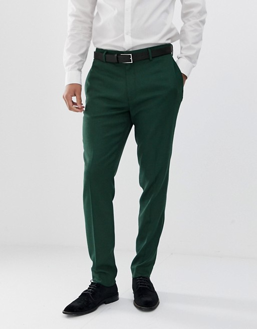 ASOS DESIGN wedding skinny suit pants in forest green micro texture
