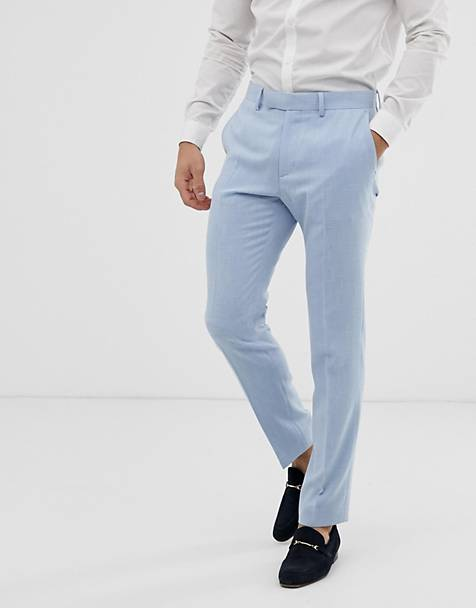 ASOS DESIGN wedding skinny suit trousers in blue cross hatch