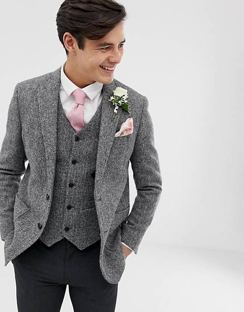 ASOS DESIGN wedding slim blazer in 100% wool Harris Tweed in grey