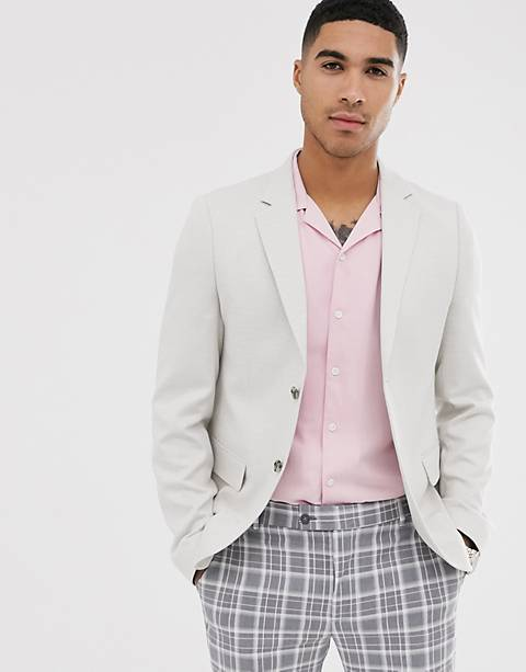 ASOS DESIGN wedding slim blazer in micro texture ice grey