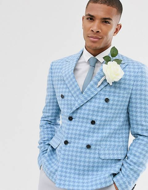 ASOS DESIGN wedding slim crop double breasted blazer with wool mix large scale houndstooth in blue