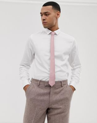 Image 1 of ASOS DESIGN Wedding slim fit sateen shirt with pink tie save