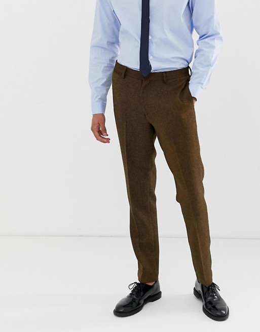 ASOS DESIGN wedding slim suit trousers in tan wool mix twill