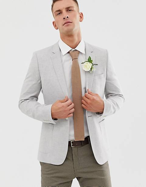 ASOS DESIGN wedding super skinny blazer in ice grey linen