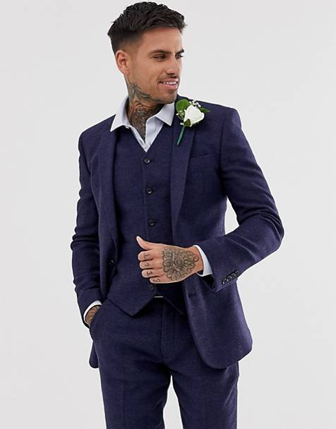 ASOS DESIGN wedding super skinny suit jacket in blue micro check