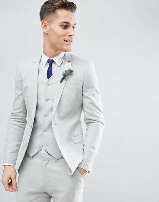 ASOS DESIGN Wedding Super Skinny Suit Jacket In Ice Gray Linen