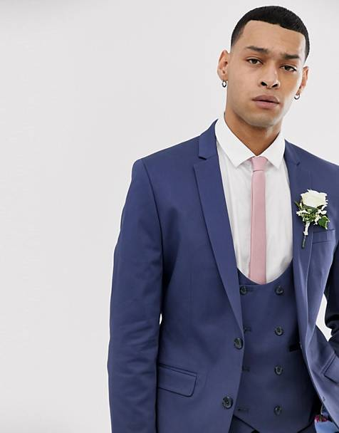 ASOS DESIGN wedding super skinny suit jacket in stretch cotton in indigo blue