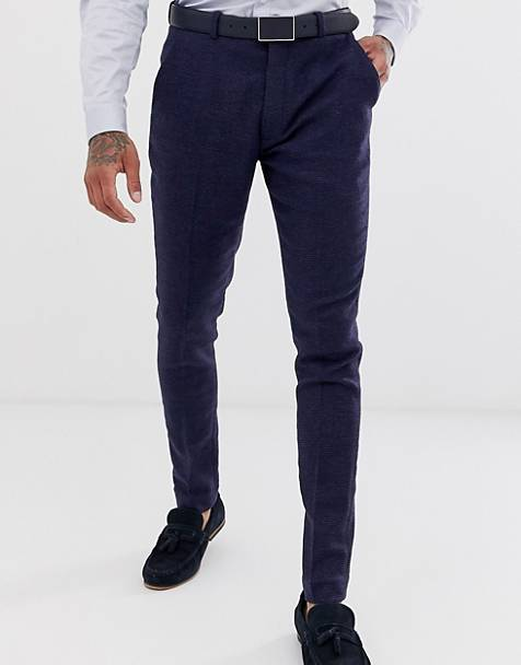 ASOS DESIGN wedding super skinny suit trousers in blue micro check