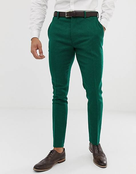 ASOS DESIGN wedding super skinny suit trousers in green twill