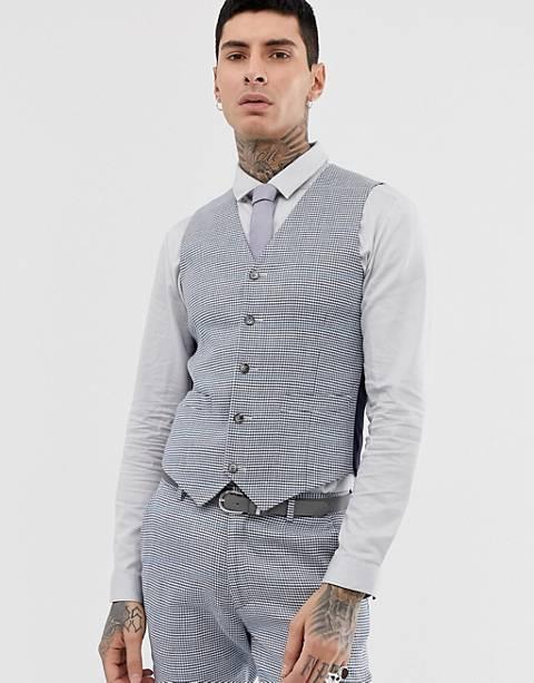 ASOS DESIGN wedding super skinny suit vest in gray check linen