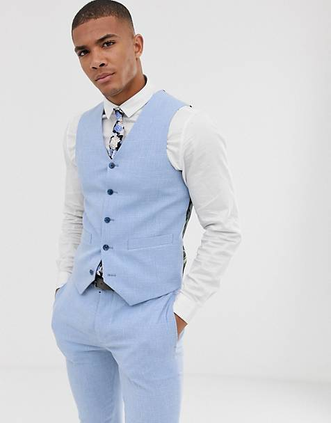ASOS DESIGN wedding super skinny suit waistcoat in light blue cross hatch