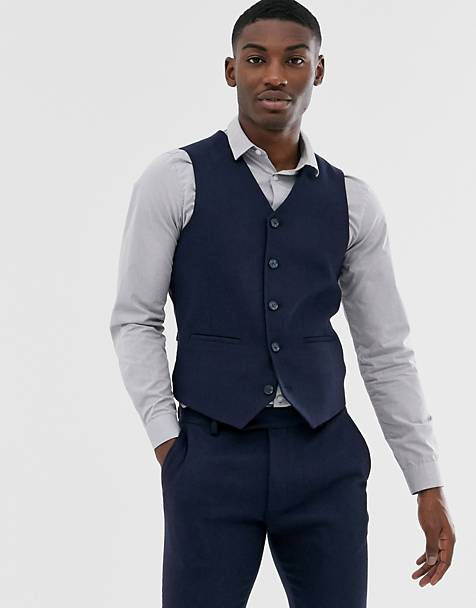 ASOS DESIGN wedding super skinny suit waistcoat in navy herringbone