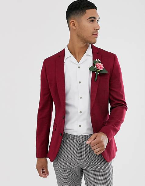ASOS DESIGN wedding super skinny wool mix blazer in burgundy