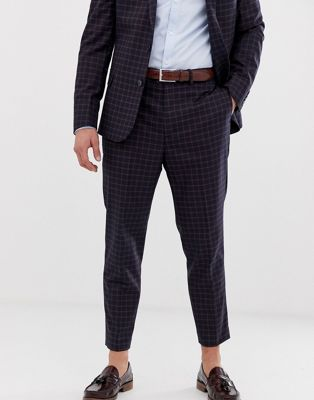 ASOS DESIGN wedding tapered suit pants in navy and orange grid check