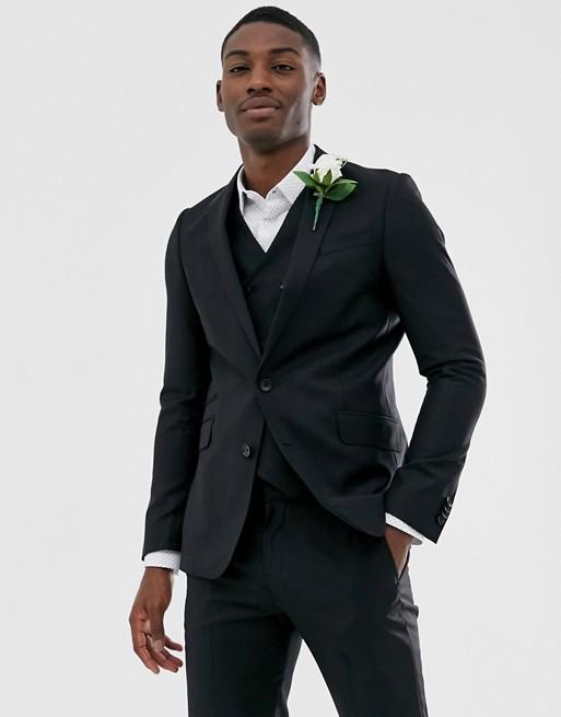 ASOS DESIGN wedding - Veste de costume ajustée 100% laine - Noir