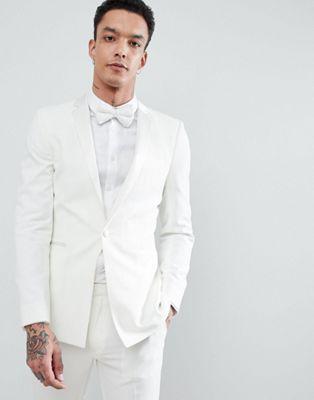 ASOS DESIGN Wedding - Veste de costume coupe ultra ajustée style smoking avec revers ton sur ton - Crème