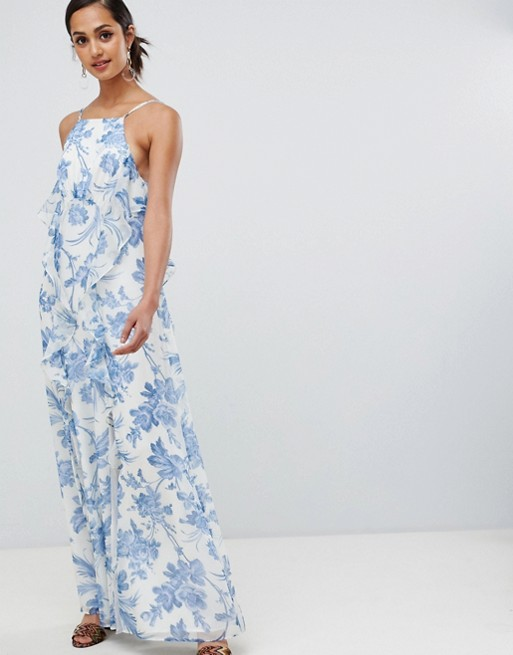 Asos Blau Ruffle Kleid Shop 1e67e 3811e