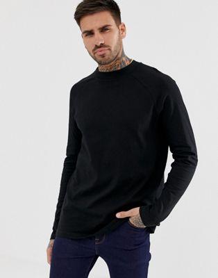 Bild 1 von ASOS DESIGN – Weites Raglan-T-Shirt mit langen Ärmeln und hohem Halsausschnitt in Schwarz