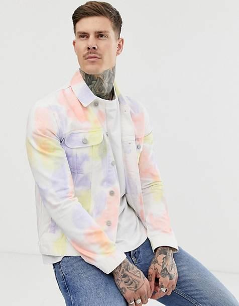 50b52cfa758 ASOS DESIGN western denim jacket in multi colour tie dye