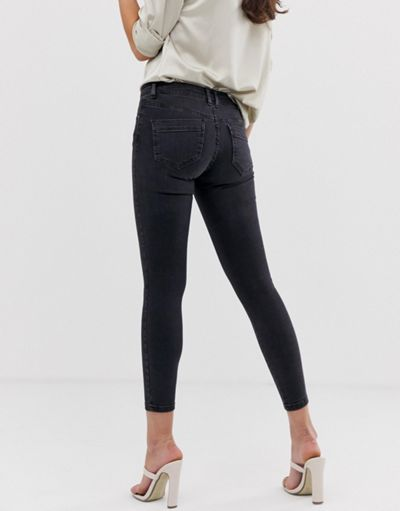 ASOS DESIGN whitby low rise skinny jeans with western fly detail in clean black