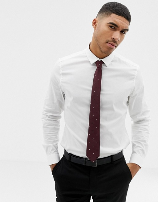 ASOS DESIGN white slim shirt and polka dot burgundy tie pack save