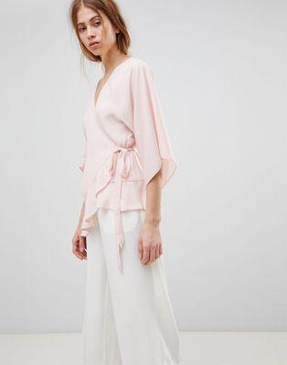 ASOS DESIGN – Wickeloberteil mit Kimono-Ärmeln
