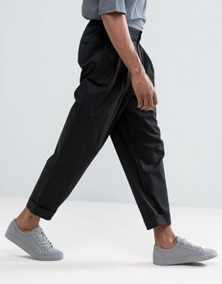 ASOS DESIGN wide balloon trousers in black