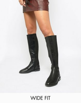 Image 1 of ASOS DESIGN Wide Fit Cadence leather riding boots