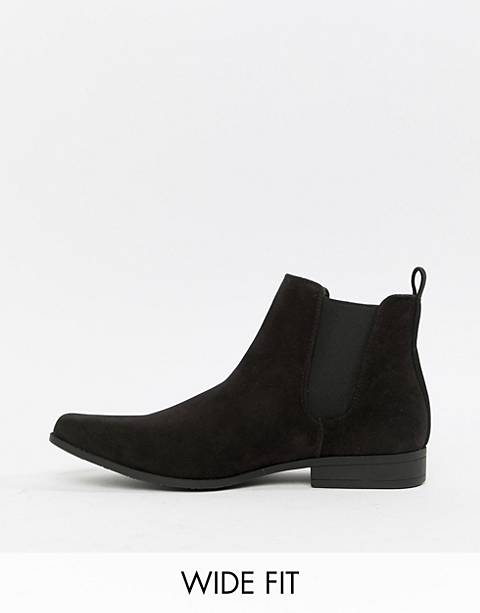 ASOS DESIGN Wide Fit chelsea boots in black faux suede