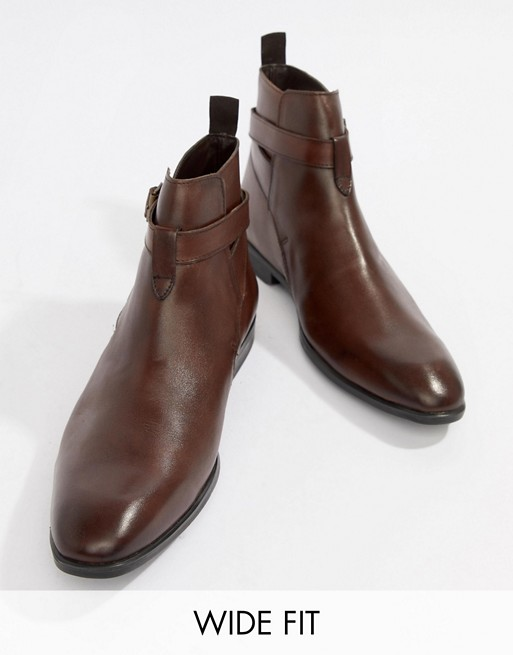 Image 1 of ASOS DESIGN Wide Fit Chelsea Boots In Brown Leather With Strap Detail