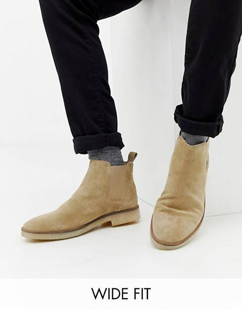 ASOS DESIGN Wide Fit chelsea boots in stone suede with natural sole