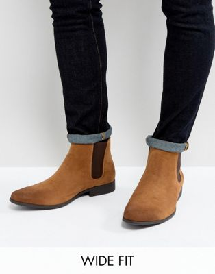 ASOS DESIGN Wide Fit chelsea boots in tan faux suede