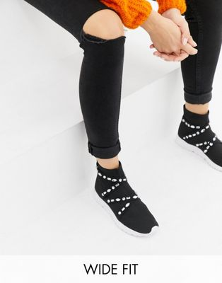 Image 1 of ASOS DESIGN Wide Fit Decorate embellished sock sneakers