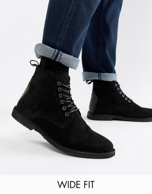 ASOS DESIGN Wide Fit desert boots in black suede with leather detail