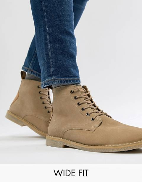 ASOS DESIGN Wide Fit desert boots in stone suede with leather detail
