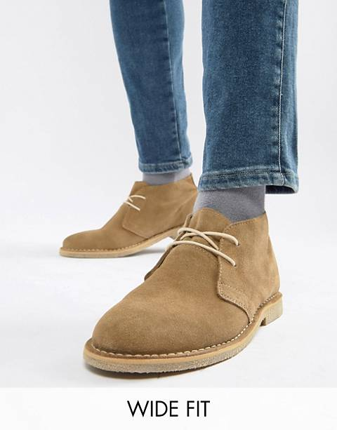 ASOS DESIGN Wide Fit desert boots in stone suede