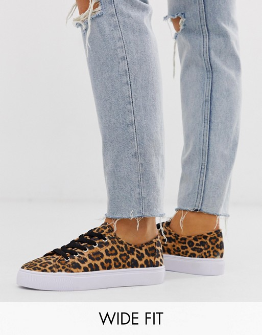 ASOS DESIGN Wide Fit Dusty lace up sneakers in leopard