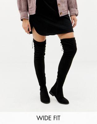 ASOS DESIGN Wide Fit Extra Wide Leg kaska flat studded THIGH HIGH BOOTS