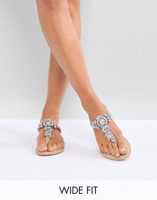 Image 1 of ASOS DESIGN Wide Fit Fairlight leather embellished flat sandals