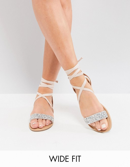 24373a881 ASOS DESIGN Wide Fit Fi embellished flat sandals