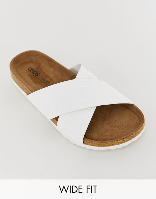 Image 1 of ASOS DESIGN Wide Fit Flare cross strap sliders