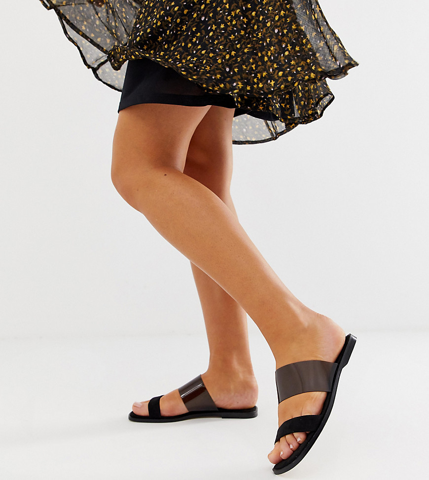 Sandals by ASOS DESIGN Sweet looks from the ground up Slip-on style Square toe Flat sole Wide fit Same length, just wider